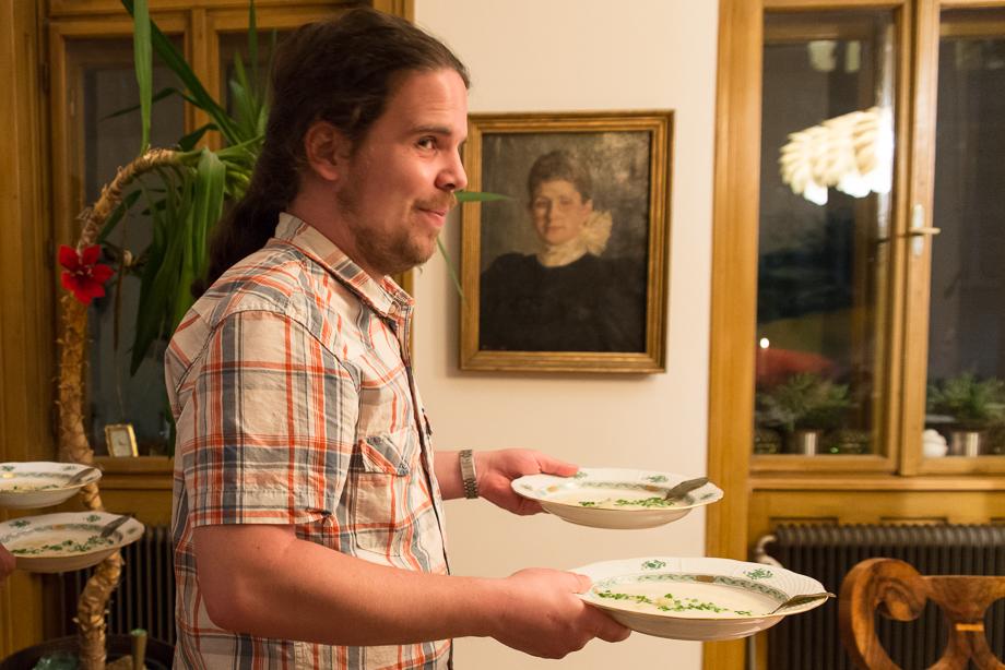 Benedikt serving soup. No spilling