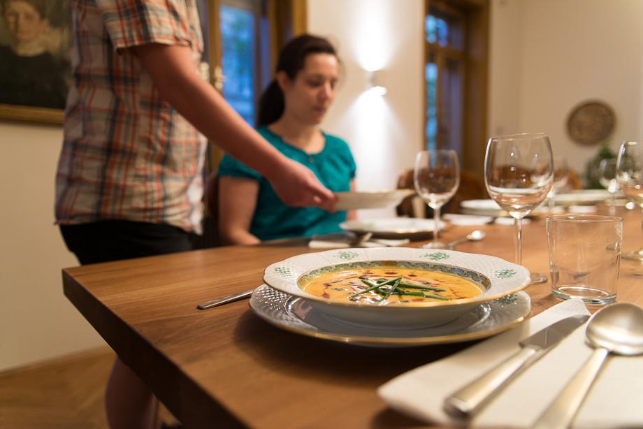 Macro of Pumpkin cream soup