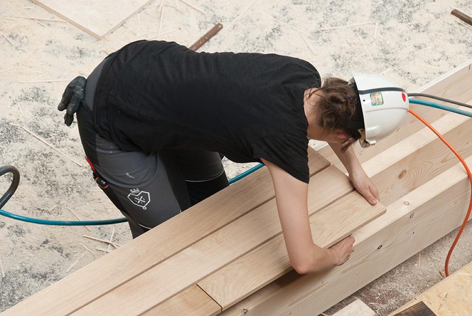 Edith carefully constructing the terrace