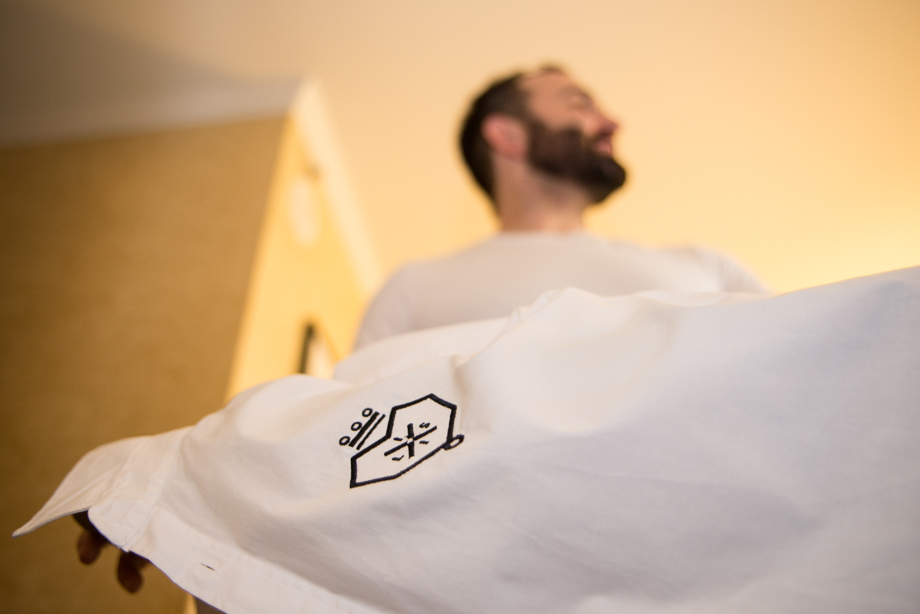 Mario ironing his LISI  shirt