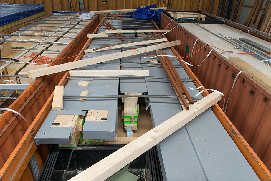 A view of an open top container