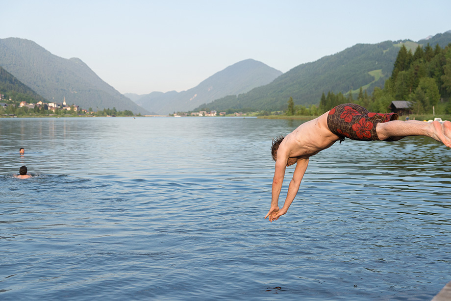 Claus taking a dive into the lake