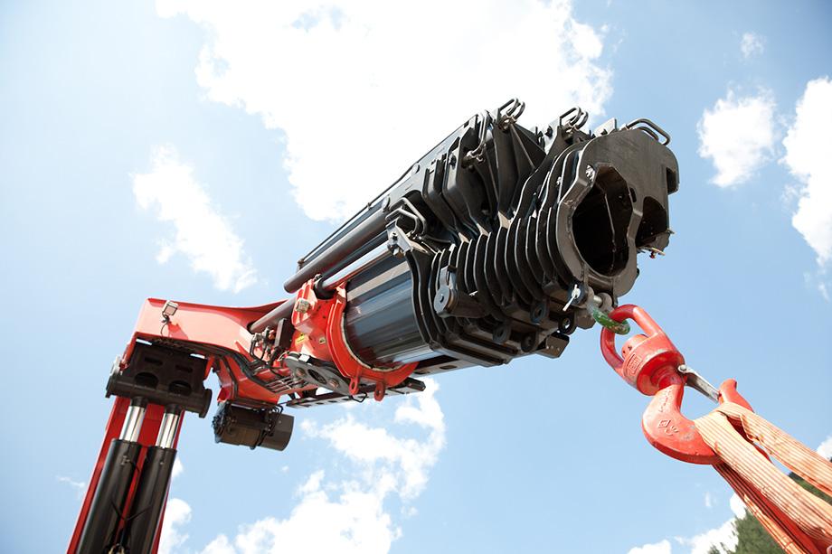 Close-up of massive crane by company Palfinger