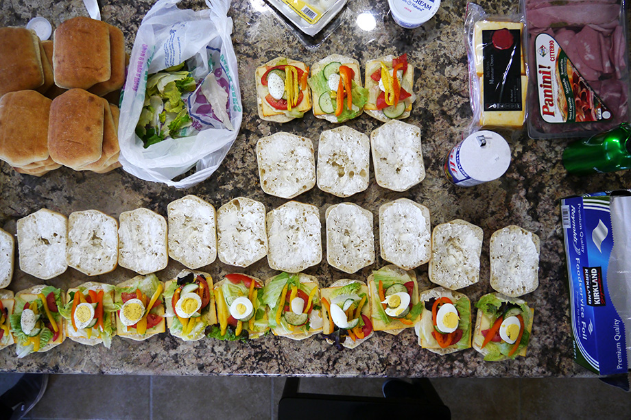Sandwiches placed on the table.