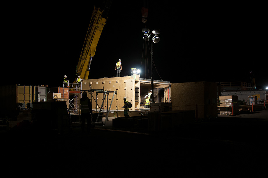 Night shot of the construction site.