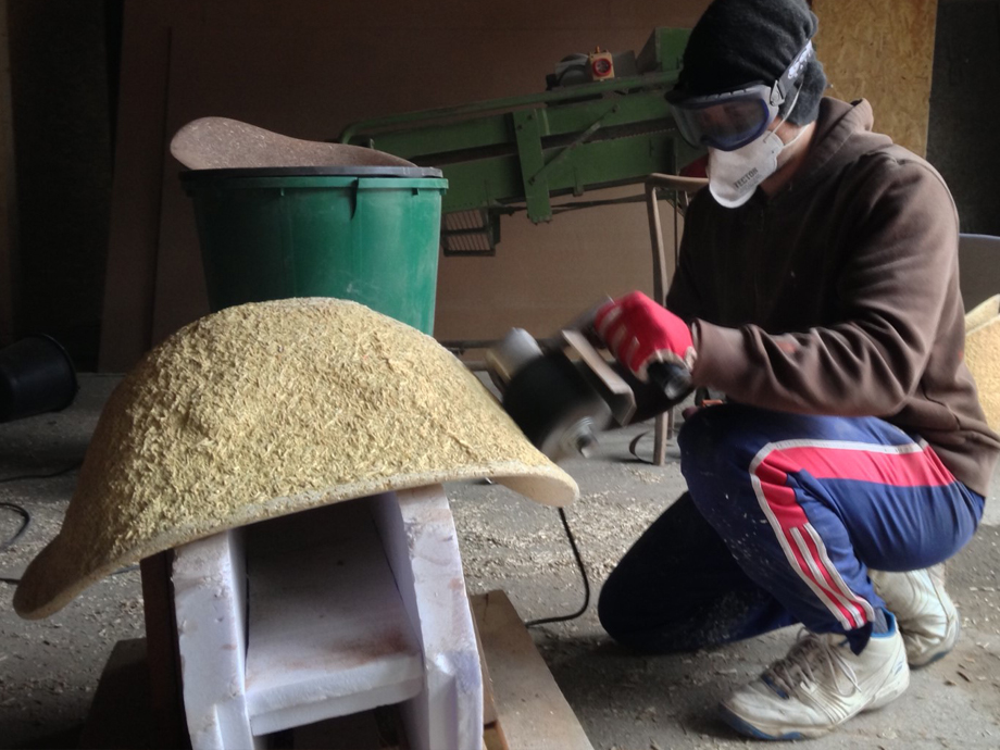 Manufacturing the outside of a chair.